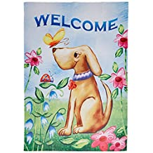 Toland Home Garden 102078 Toland-Welcome Dog-Decorative Double Sided Spring Summer Puppy Cute USA-Produced House Flag