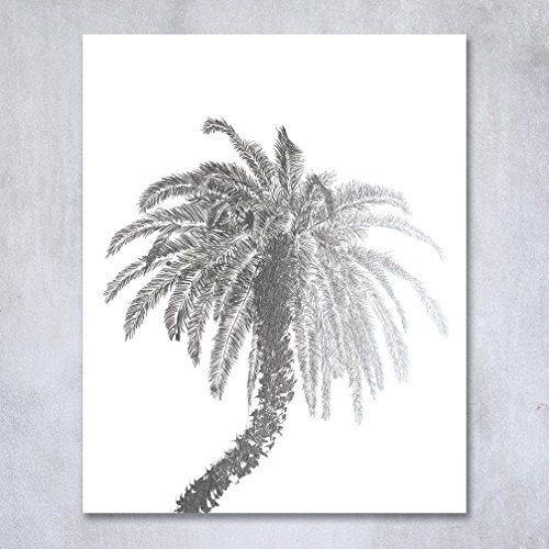 Metallic Palm Tree Table Decor (Palm Tree Silver Foil Decor Wall Art Print Island Tropical Art Metallic Poster 5 inches x 7 inches C21)