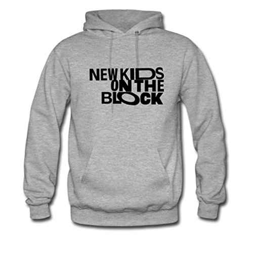 GOOGSDDIY Mens New Kids On The Block Funny Quote Pullover Hoodies Large Grey