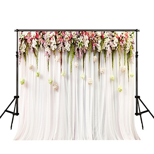 (10x6.5ft Pink Flower Wedding Ceremony Newborn Beauty Girl Daughter Party Background Seamless Cloth Photography Backdrops Studio)