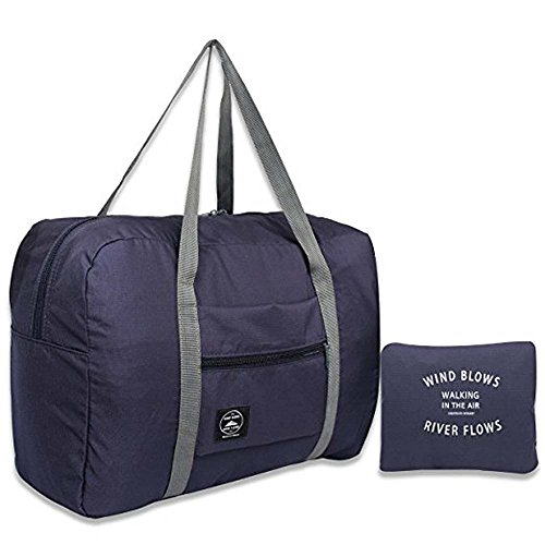 Super Lightweight Carry On - Foldable Lightweight Duffle Bag Waterproof Travel Storage Luggage Tote Bag for Women and Men (Dark blue)