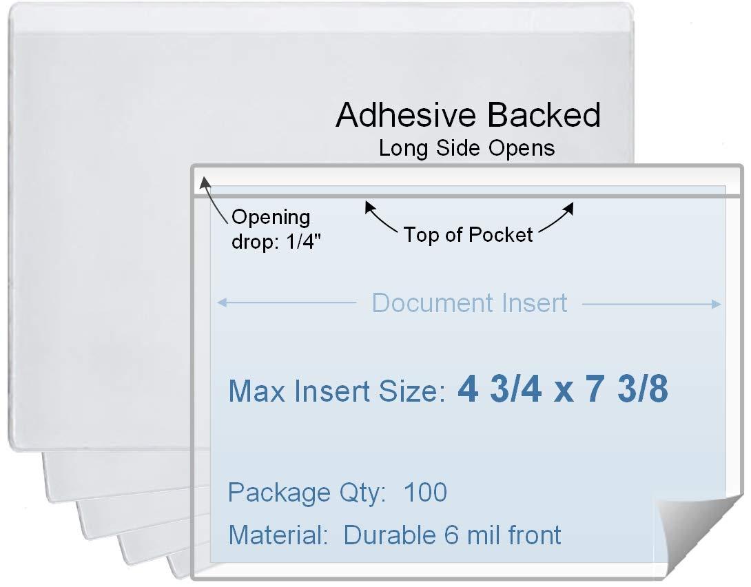 Short Side Opening Set of 100 4 3//4 x 7 3//4 Vinyl Plastic Sleeve Durable 7.5 mil Crystal Clear Vinyl 0.688 Each
