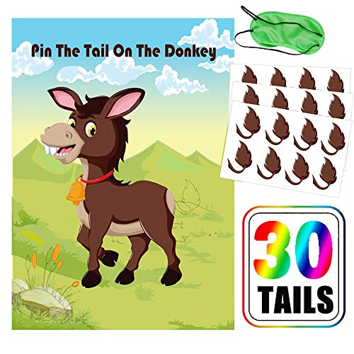 Pin The Tail On The Donkey Games - Kids Carniva Circus Birthday Party Supplies Decorations(30 Tails)]()