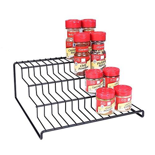 4 Tier Cabinet Spice Rack Organizer GONGSHI-Step Shelf Storage-Black 4 Tier Step