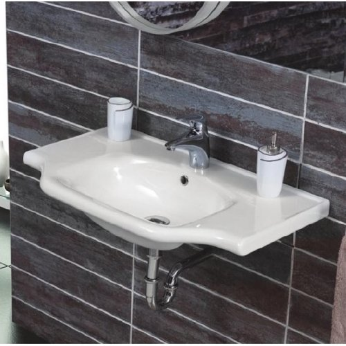 CeraStyle 081000-U-One Hole Yeni Klasik Rectangular Ceramic Wall Mounted/Self Rimming Sink, White ()
