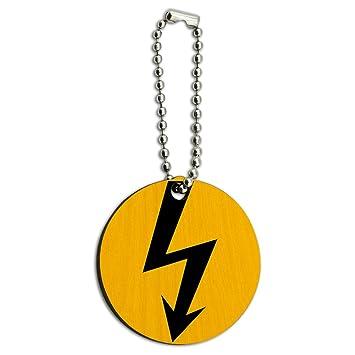Hohe Spannung Symbol schwarz auf gelb Holz rund Schlüssel Kette ...