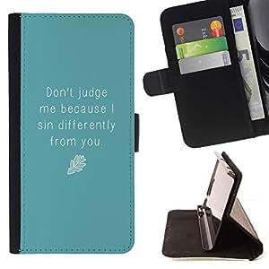 Momo Phone Case / Flip Funda de Cuero Case Cover - Juez azul cita de motivación Autoayuda - Samsung Galaxy Note 5 5th N9200