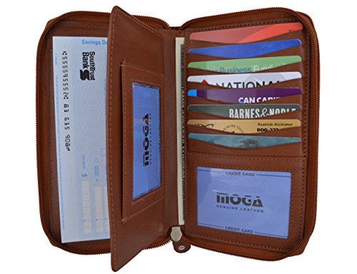 Moga Large Capacity Women Wallet Genuine Leather Clutch Wallet Card Holder Organizer Ladies Purse Double Zipper Long Wallet (1, Tan) - Leather Checkbook Cover Organizer Wallet