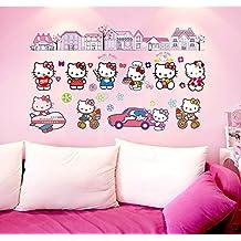Fange DIY Removable Hello Kitty The World Art Mural Vinyl Waterproof Wall Stickers Kids Room Decor Nursery Decal Sticker Wallpaper 35.4''x23.6''