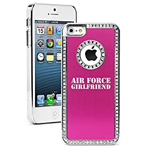 """Apple iPhone 6 Plus (5.5"""") Rhinestone Crystal Bling Hard Case Cover Air Force Girlfriend (Hot Pink)"""
