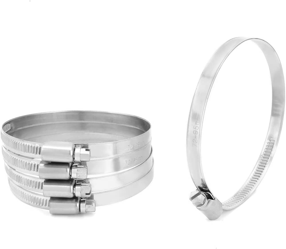 uxcell 72mm to 95mm Dia Range 304 Stainless Steel German Type Hose Clamp Hoop 5pcs