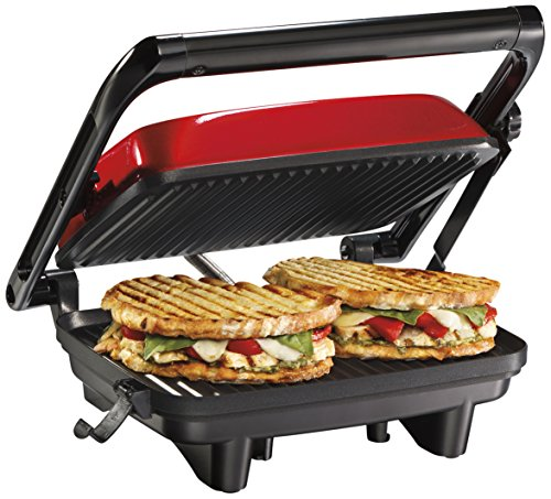 "Hamilton Beach Electric Panini Press Grill With Locking Lid, Opens 180 Degrees For Any Sandwich Thickness, Nonstick 8"" X 10"" Grids, Red (25462Z) from Hamilton Beach"