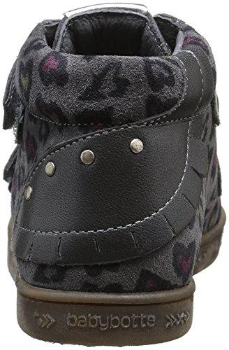 Babybotte Aublada 1B4247 - Zapatillas con velcro para niñas Gris (211 Gris Imp Coeur)