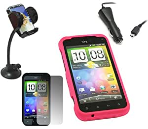 iTALKonline CAR DRIVE Pack ROSA Duro Caso HYBRID / portada / Piel, pantalla LCD / Protector Scratch, Cargador de Coche, soporte para coche para HTC Incredible S IncredibleS