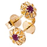 18K Solid YellowGold Unique Celtic Earrings For Women Set With Natural Red Rubies