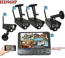 4UCam 960P HD Digital Wireless Home Security Camera System 4CH 7 Inch HD Split Screen LCD Monitor Indoor Outdoor IP66 Camera Security Network System