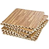 Dooboe Interlocking Foam Mats – Wood Grain Floor Mats - Foam Tiles - Foam Floor Tiles - Puzzle Floor Mat - Light Woodgrain - Non-Toxic, Anti-Fatigue, Premium Puzzle Floor Mat with Borders
