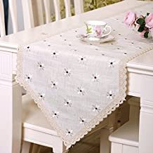 yazi Country Rustic Embroidery Cutwork Lace Dining Table Runner Cotton Linen Table Cover White Floral 15x77 Inch