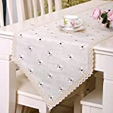 Country Dining Table yazi Country Rustic Embroidery Cutwork Lace Dining Table Runner Cotton Linen Table Cover White Floral 15x59 Inch