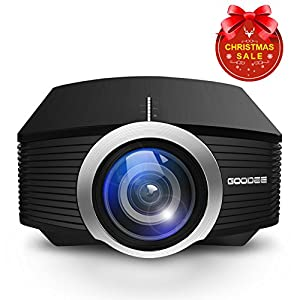 Projector, GooDee Mini Portable Projector 1800 Luminous Efficiency Home Cinema Theater Movie Video Projector Support Multimedia HDMI USB for Home Entertainment Games by GooDee