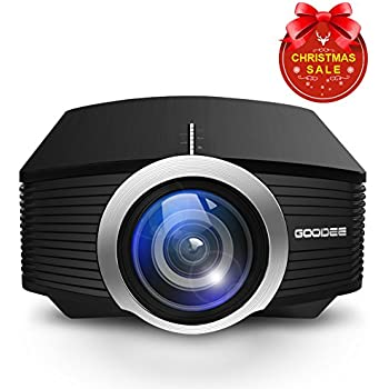 Projector, GooDee Mini Portable Projector 1800 Luminous Efficiency Home Cinema Theater Movie Video Projector Support Multimedia HDMI USB for Home Entertainment Games