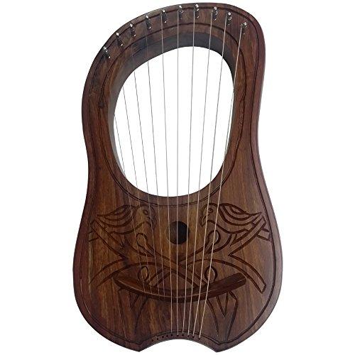 AAR Lyre Harp 2 Birds Design 10 Strings Hand Engraved/Lyra Harp Rose Wood/Harfe by AAR
