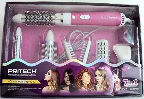 Haarpflege-Set Warmluftbürste 7in 1Rosa Haartrockner Glätteisen Brushing Eisen RMDIST