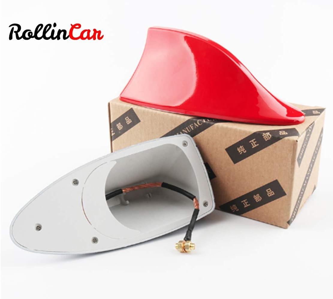 ROLLIN Antena Coche Universal de Aleta Tiburon para Techo Antena Radio Am/FM (RED)