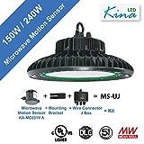 LED 240W UFO High Bay Light with Microwave Motion Sensor - by Kina LED, CCT 5,700K & 31,200 Lumen, UL & DLC, Standard Hook Mount with Ring, Super Efficiency 130 Lumens/Watt, 100-277V