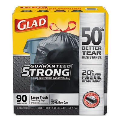 Clorox 78952 Drawstring Large Trash Bags, 30 X 33, 30gal, 1.05mil, Black, 90/carton