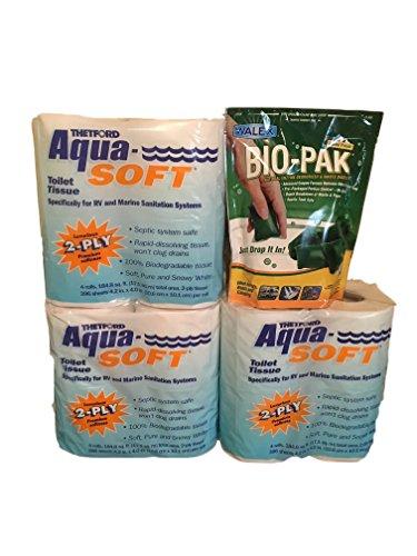 V&P Thetford RV Toilet Tissue 2-Ply Toilet Paper (12 Rolls) and Walex Bio-Pak Alpine Fresh Holding Tank Deodorizer (10 Packs), Bundle of Two Products