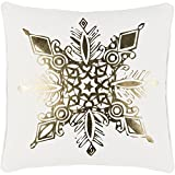 "18"" Snow White and Rich Gold Decorative Geometric Snowflake Holiday Throw Pillow –Down Filler"