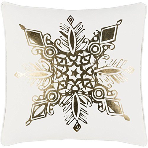 "18"" Snow White and Rich Gold Decorative Geometric Snowflake Holiday Throw Pillow –Down Filler by Diva At Home"