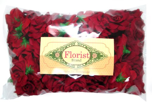 264da5924a393 100) Silk Red Roses Flower Head - 1.75