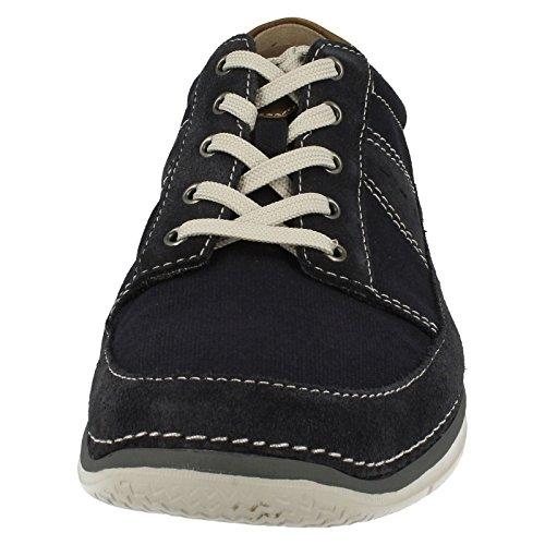 Clarks Détente Homme Chaussures Ripton Plain En Textile Bleu