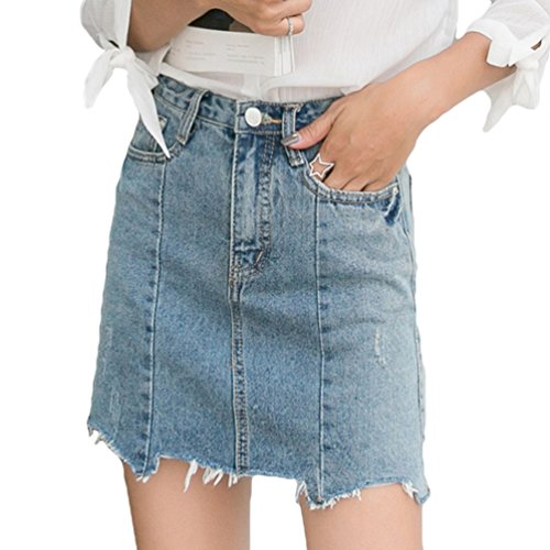 NiSeng Mujeres Cintura Alta Irregular Mini Vaquera Faldas Casual Faldas De Mezclilla Azul Claro