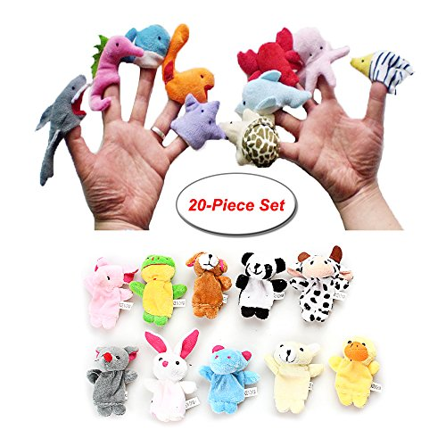 20PCS Cute Game Finger Puppet Animal and Ocean Fish Plush Toys Gift Marine Animals Story Telling Toys Preschool Kids Baby Favor Dolls Educational Toys by Longwider