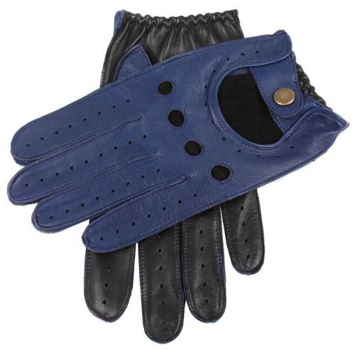 Dents Mens Two Tone Leather Driving Gloves - Royal Blue/Black - Large