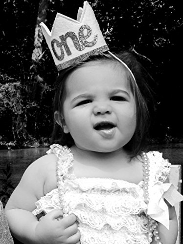 Baby Girl and Boy FIRST BIRTHDAY Sparkly Silver ONE Crown I Am 1 by Birdy Boutique (Image #2)