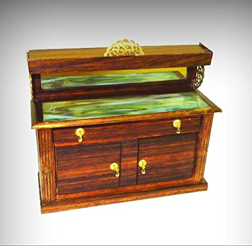 Artisan Sideboard - Artisan Rosewood Sideboard Cabinet with Green Glass Top 1:12 Dollhouse Miniature - My Mini Garden Dollhouse Accessories for Outdoor or House Decor