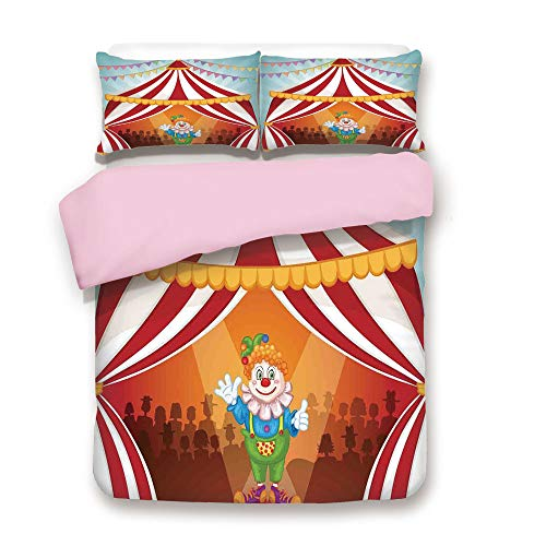 Pink Duvet Cover Set,Queen Size,Cartoon Clown in Circus Tent Cheerful Costume Funny Entertainer Joyful,Decorative 3 Piece Bedding Set with 2 Pillow Sham,Best Gift for Girls Women, ()