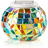 Solar Powered Mosaic Glass Ball Garden Lights, Color Changing Solar Table Lamps, Waterproof Solar Outdoor Lights for Parties Decorations, Christmas, Ideal Gifts--5.12 Inch in Diameter, 4.13inch