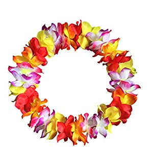 Yansanido 41'' Pack of 8 Large Size Fully Hawaiian Ruffled Simulated Silk Flower Leis Necklace for Party Favor and Hula-Hula Hawaiian Dance 2