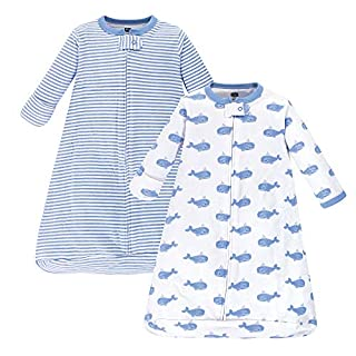 Hudson Baby Unisex Baby Cotton Long-Sleeve Wearable Sleeping Bag, Sack, Blanket, Blue Whales, 3-9 Months