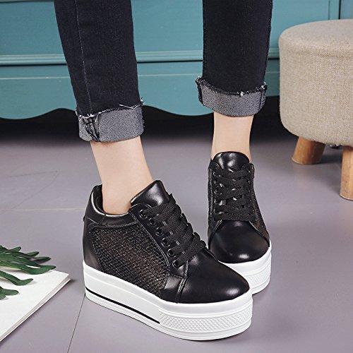 El aumento de mujeres zapatos deportivos Malla superior transpirable para verano salvaje zapatos Zapatos zapatos de mujer gruesa bizcocho de marea de ,39, negro 39 negro