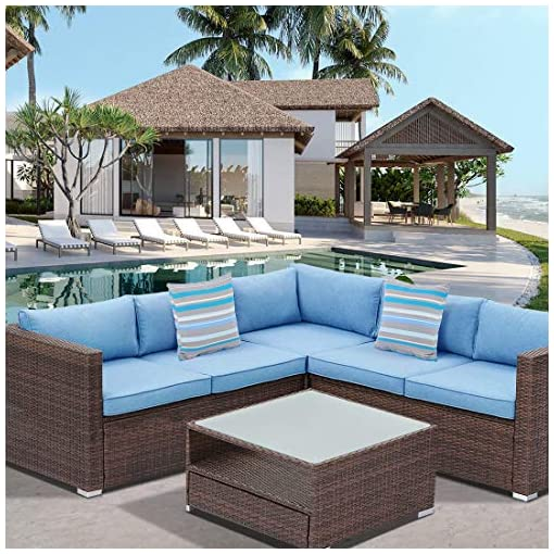 Garden and Outdoor HOMPUS Outdoor Sectional Sofa 4-Piece All Weather Handwoven Brown Wicker Patio Furniture Set w Royal Blue Seat Cushions… outdoor lounge furniture