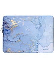 MOSISO Laptop Sleeve Compatible with 13-13.3 inch MacBook Pro, MacBook Air, Notebook Computer, Polyester Vertical Watercolor Marble Bag with Pocket, Blue