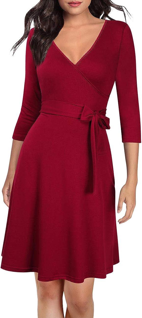 3//4 Arm mit V-Ausschnitt und G/ürtel(Verpackung MEHRWEG) KOJOOIN Damen Kleid Business Kleid Knielang Wickelkleid