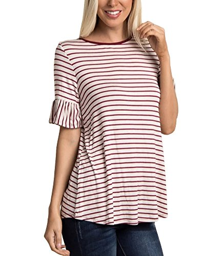 LEANI Women's Short Sleeve Striped Bell Sleeve Loose T-Shirt Summer Casual Cotton Basic Top ()