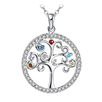 Mothers Day Gifts Silver Necklace for Women 925 Sterling Silver 3A Cubic Zirconia Pendent Necklace J.Rosée Fine Jewelry Gift Packed Colorful Tree of Life